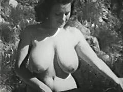 Clara Enjoys Her Big Boobs Outdoors 1950