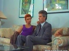 Amazing redhead MILF blows stiff rod