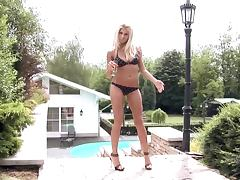 Beautiful Busty Blonde With A Bikini Masturbates By The Pool