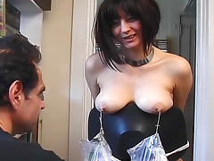 Amazing nipple torture with cute brunette