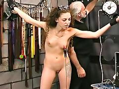 Bruising her ass with a flogger