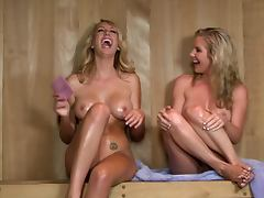 Blondes Ainsley Addison and Brett Rossi Having Fun In The Sauna