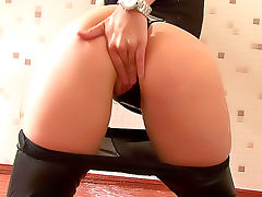 Leather pants girl and dildo blowjob