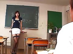 Exotic Japanese Teacher Gets Fucked and Facialized In Sexy Lingerie
