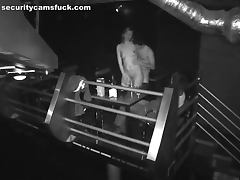 Drunk threesome in the night club fucking in reversed position