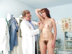 Hairy brunette pussy is examined