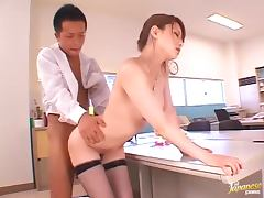 Akiho Yoshizawa the beautiful girl in fishnets fucks a guy in the office