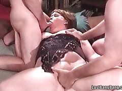 Mature slut in hot threesome