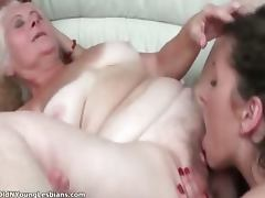 Old mature busty lesbian gets her hairy