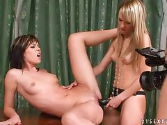 Blue Angel and Nikita play with a strap on Amazing backstage clip