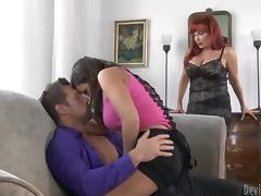 Ripped Dude Fucks A Hot Redhead Milf and Her Daughter
