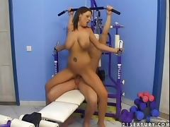 Chained Ann Stefani gets fucked hard in a gym