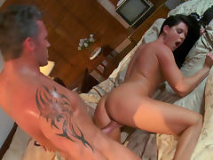 Hot looking brunette India Summer is getting fucked in her tight hole