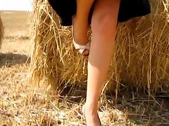 RIDE IN THE COUNTRYSIDE WEARING TAN NYLONS