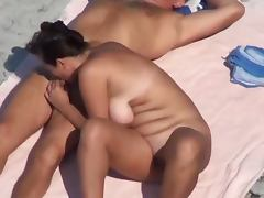 Chubby mature lady pleases her hubby with a blowjob on a beach