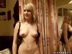 Sweet Blue Angel changes her clothes in a dressing room