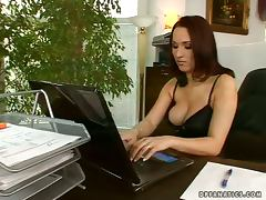 Business affairs with two dudes and a sexy brunette