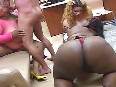 Three fat cocksuckers share cum