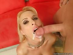 Holly Halston sucks and rides a hard cock and gets a facial cumshot