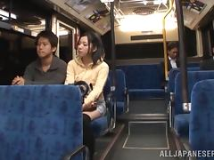 Airi Minami sucks a cock in a bus and gets facialed