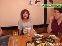 Kaho Kasumi gets threesomed after having a dinner