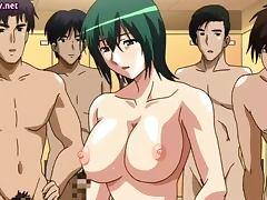 Anime slut gets jizz on her boobs