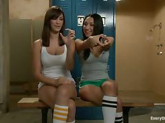 Three slim and sexy girls toy their asses in a locker room