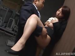 Momo Ogura gets her cunt drilled in standing position