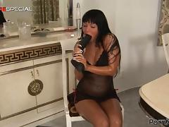 Huge Black Dildo Goes Inside Angelica Heart's Pussy in the Kitchen