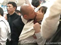 Japanese girl in school uniform gets fucked in a subway train