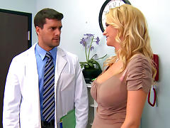 Pretty fake-tit blonde is fucking with a doctor
