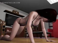 Anime hottie in lingerie nailed by monsters shaft