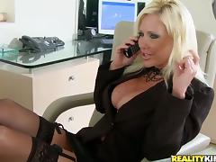 Blonde chick in stockings gets pounded by her boss
