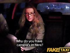FakeTaxi: Girl with glasses copulates for rent cash