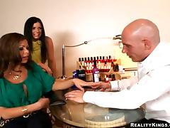 Two lustful chicks get fucked in a nail salon in CFNM video