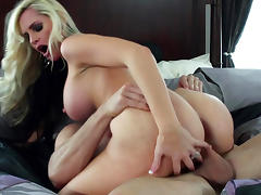 Sensual curly-haired blonde fuck with a bald dude