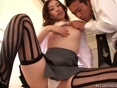 Charming office girl fucks her boss on his desk