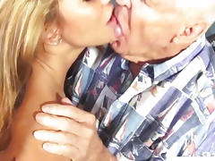 Ava Devine getting mouthfuls of cum as she takes on several cocks