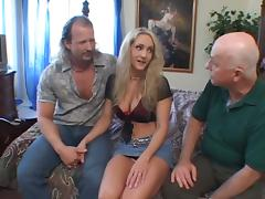 Busty Blonde With Big Fake Tits And Two Bros In Threesome Sex Act
