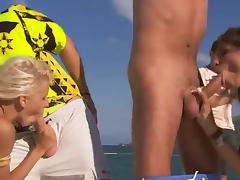 Two skinny sluts get  their cunts slammed on a yacht