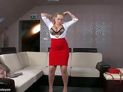 Anal Intercourse and Titty Shacking up Divertissement with Big Boobed Blonde Benefactor Wicky