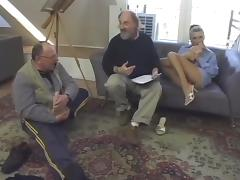 Amazing backstage video of skinny blonde fucking with some old dude