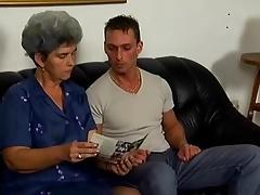 Grey haired granny engulf, copulates and facialized