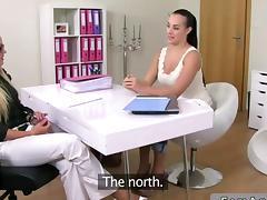 Female agent fucks a gorgeous brunette