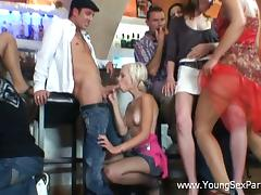 Sexy Russian teens get fucked hard in a bar at a student party