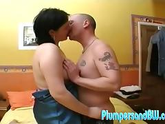 Chubby Lisa gets fucked in her clean shaved pussy in a bedroom