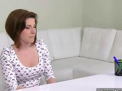 Female agent fucking a hot brunette amateur