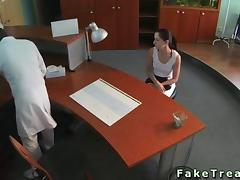 Doctor fucks his patient on a desk hard