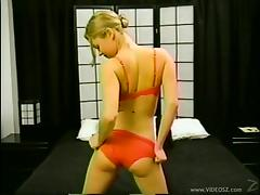 Christine Young fingers her pussy and gives a hot blowjob